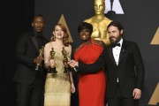 """Mahershala Ali, winner of the award for best actor in a supporting role for """"Moonlight"""", from left, Emma Stone, winner of the award for best actress in a leading role for """"La La Land"""", Viola Davis, winner of the award for best actress in a supporting role for """"Fences"""", and Casey Affleck, winner of the award for best actor in a leading role for """"Manchester by the Sea"""", pose in the press room at the Oscars. Photo-AP"""