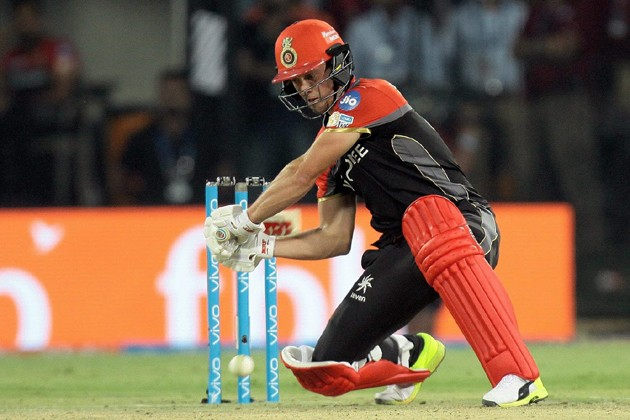 RCB batsman AB de Villiers plays shot during the IPL 2017 match against KXIP  at the Holkar Stadium in Indore on Monday. Photo: PTI