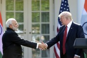 President Donald Trump and Indian Prime Minister Narendra Modi shake hands after making statements in the Rose Garden of the White House in Washington, Monday. Photo: AP