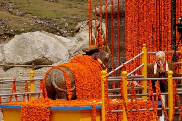 কেদারনাথ মন্দিরে পুজো দিলেন মোদি