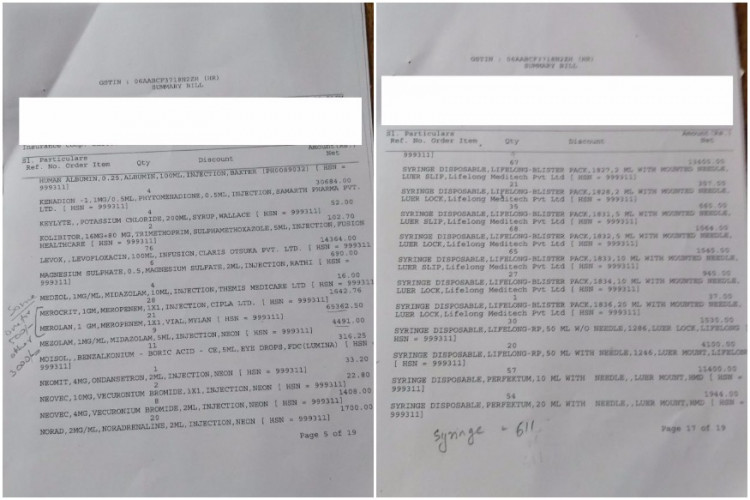 Images of the bill tweeted by Jayant Singh's friend.
