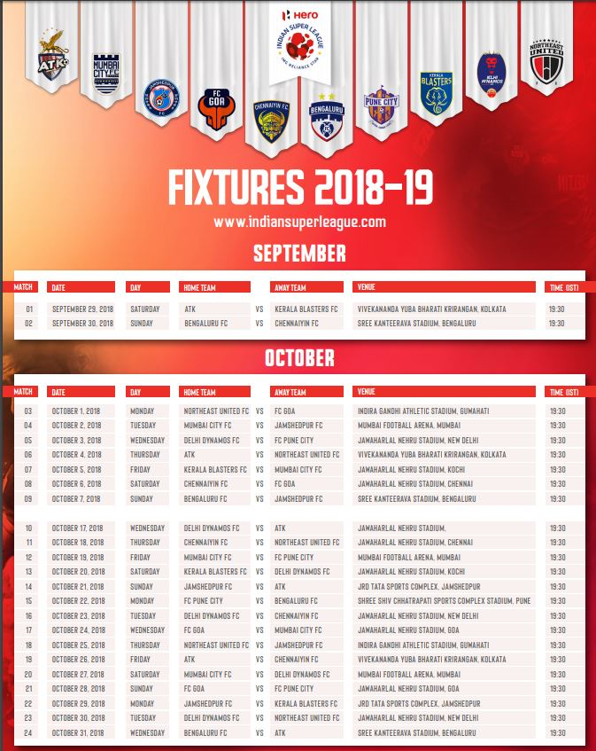 ISL-Fixture 2018-19