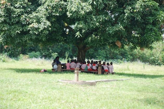 নেই বিদ্যুৎ তাই প্রচন্ড গরমেও গাছের তলায় চলছে স্কুলের ক্লাস