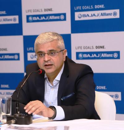 Tarun Chugh, Managing Director and CEO, Bajaj Allianz Life Insurance Company at a press conference in Kolkata.