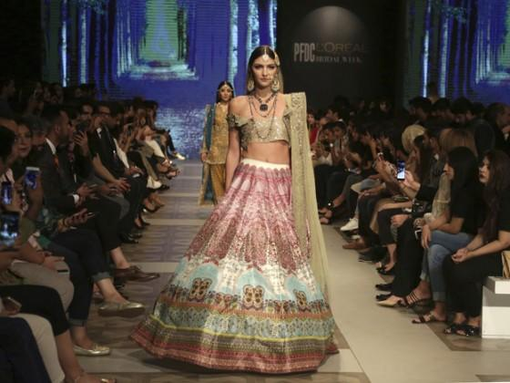 Models present creations of designers Shazia and Sehr during the Bridal Fashion Week organized by the Pakistan Fashion Design Council, in Lahore, Pakistan. Photo: AP