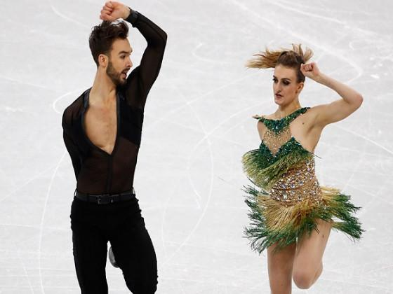 The French ice dancer's glittering emerald costume at the Olympics had come unhooked at the neckline and later in the routine her left breast was exposed live on television. (Image: Reuters)
