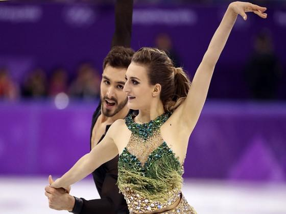 When the clasp became unhooked, the 22-year-old Papadakis was more worried about holding up her outfit than making sure her twizzles and rhumba were in sync. (Image: Reuters)
